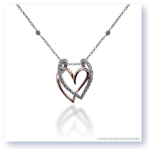 Mark Silverstein Imagines 18K White and Rose Gold Layered Heart Diamond Pendant