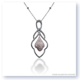 a. Mark Silverstein Imagines 18K White and Rose Gold Hanging Flower Diamond Pendant