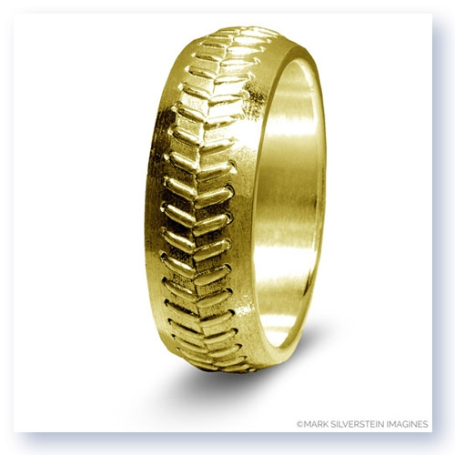 Mark Silverstein Imagines 14K Yellow Gold Baseball Themed Men's Wedding Band
