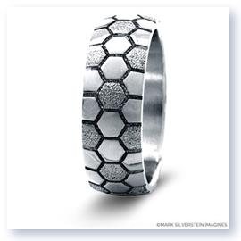 Mark Silverstein Imagines Sterling Silver Soccer Themed Men's Wedding Band