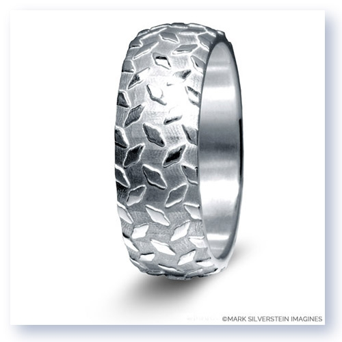 Mark Silverstein Imagines Sterling Silver Diamond Plate Design Men's Wedding Band