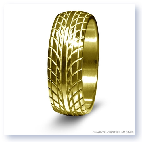 Mark Silverstein Imagines 14K Yellow Gold Road Racing Themed Men's Wedding Band