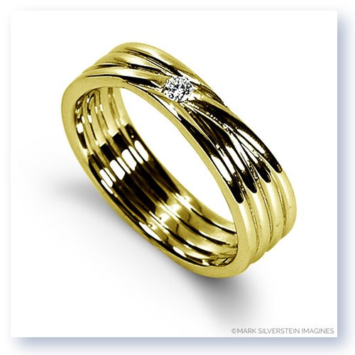 Mark Silverstein Imagines 18K Yellow Gold Four Band Diamond Men's Wedding Band