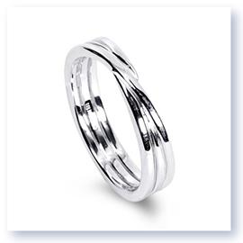 Mark Silverstein Imagines 18K White Gold Polished Three Loop Men's Wedding Band