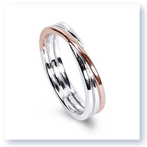 Mark Silverstein Imagines 18K White and Rose Gold Polished Three Loop Men's Wedding Band