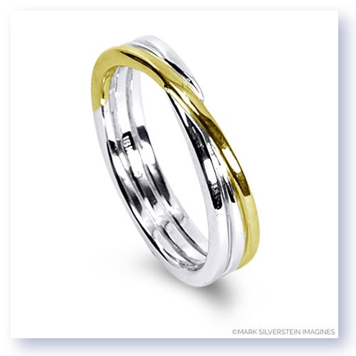 Mark Silverstein Imagines 18K White and Yellow Gold Polished Three Loop Men's Wedding Band