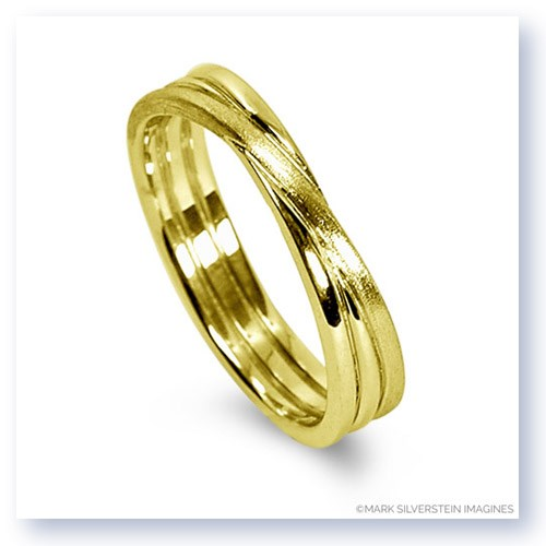 Mark Silverstein Imagines 18K Yellow Gold Brushed Three Loop Men's Wedding Band