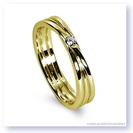 Mark Silverstein Imagines 18K Yellow Gold Three Loop Diamond Men's  Wedding Band