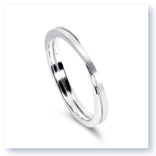 Mark Silverstein Imagines 18K White Gold Polished and Brushed Double Loop Men's Wedding Band