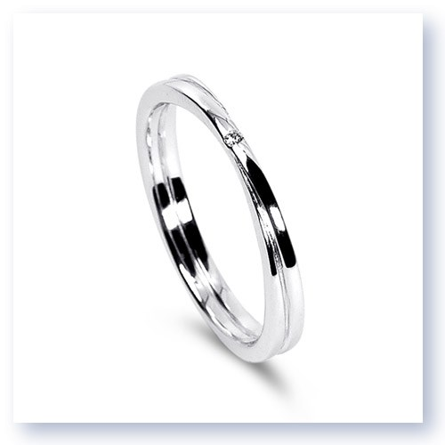 Mark Silverstein Imagines 18K White Gold Double Loop Diamond Men's Wedding Band