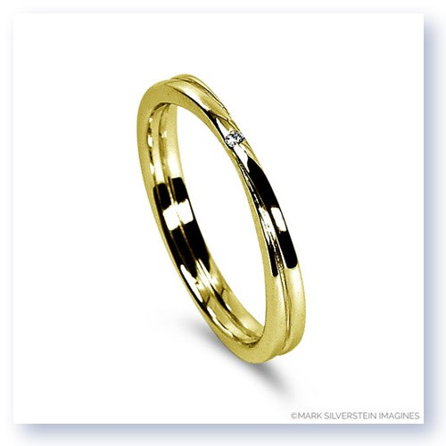 Mark Silverstein Imagines 18K Yellow Gold Double Band Diamond Men's Wedding Band