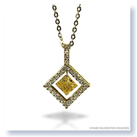 Mark Silverstein Imagines 18K Yellow Gold and Platinum Diamond Shaped Yellow and White Diamond Pendant Necklace