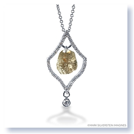 Mark Silverstein Imagines 18K White Gold and Platinum Diamond Slice Pendant Necklace