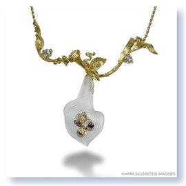 Mark Silverstein Imagines Hand Carved 18K Yellow Gold and White Quartz Calla Lily with Diamonds Pendant Necklace