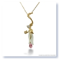 Mark Silverstein Imagines Hand Carved 18K Yellow Gold and Aquamarine Calla Lily with Diamond and Sapphire Pendant Necklace