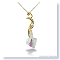 Mark Silverstein Imagines Hand Carved 18K Yellow Gold and Aquamarine Calla Lily with Diamond, Pearl and Sapphire Pendant Necklace