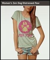 WOMEN'S ZEN DOG DISTRESSED PAW *FITTED*