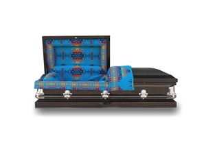 20 Gauge Titan Non-Sealer Casket with Native American Heritage Blanket on the interior.