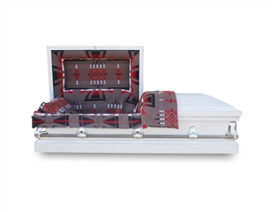 20 Gauge Heritage White Non-Sealer Casket with Native American Heritage Blanket on the interior.