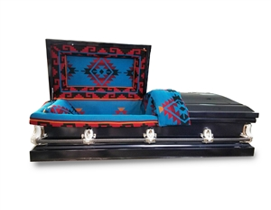 Cobalt casket with with Blue Native American Heritage Blanket on the interior.
