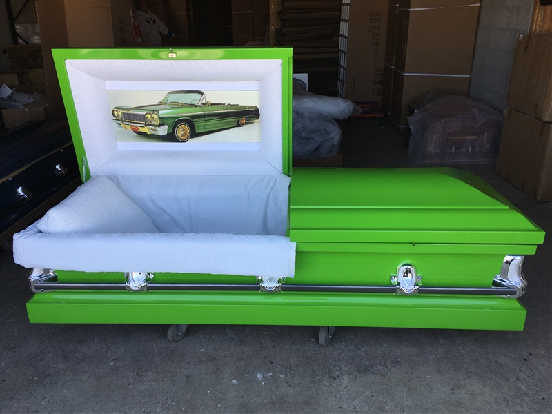 Custom Green Casket