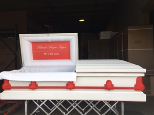 Custom Red/White Casket