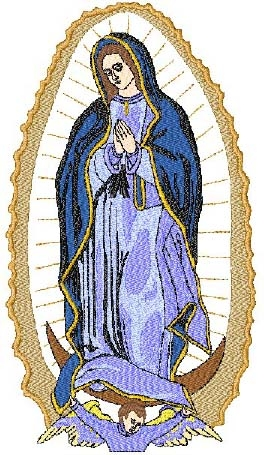 Lady Guadalupe with Rays Head Panel Insert