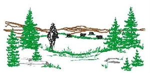 Scenery Silhouette Cowboy and Cows Head Panel Insert