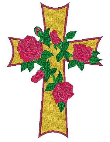 Cross with Roses Head Panel Insert