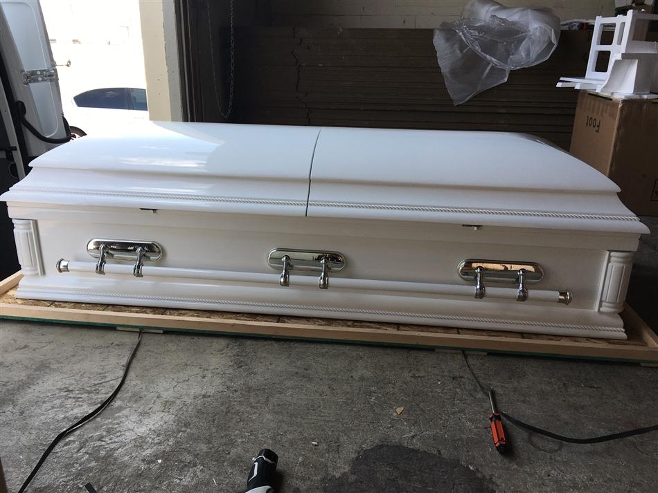 Estate 31 (White) - Solid Poplar Wood Oversized Casket
