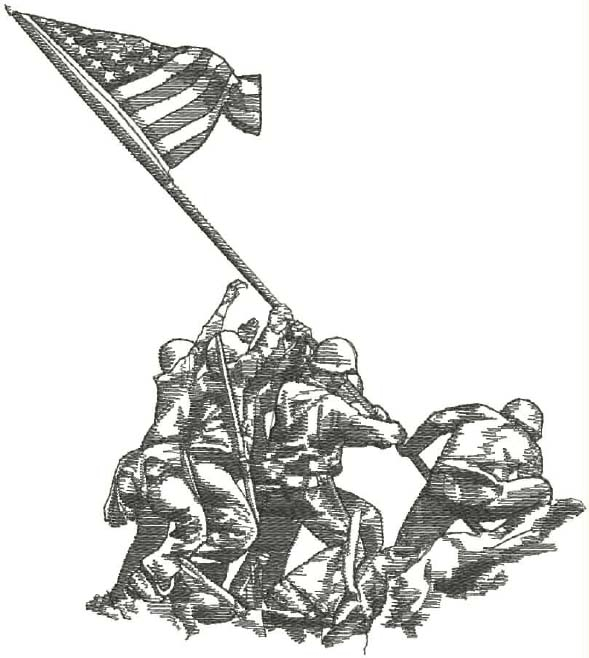 Iwo Jima Black and White Head Panel Insert