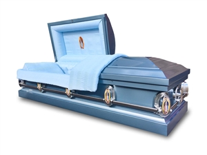 Lady Guadalupe (Blue) - 20 Gauge Steel Casket