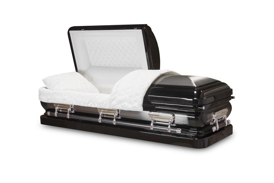 Ebony black 18 gauge steel casket for Black casket with red interior