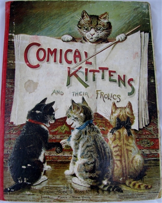 Raphael Tuck  pop-up book COMICAL KITTENS & THEIR FROLICS 1800's Movable book