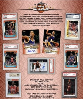 2016-17 Leaf Best of Basketball 5 Box Case Break FILLER#9