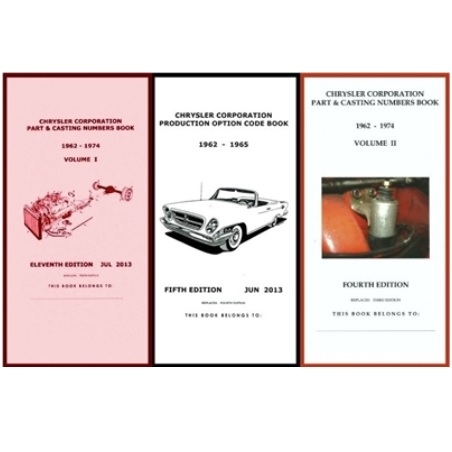 Pocket Decoding & Casting Number Book Set for 1962-1965 Plymouth - Dodge -  Chrysler - Imperial