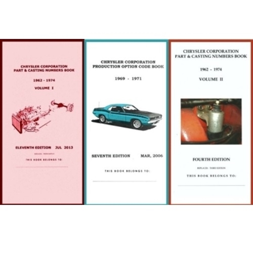 Pocket Decoding & Casting Number Book Set for 1969-1971 Plymouth - Dodge -  Chrysler - Imperial
