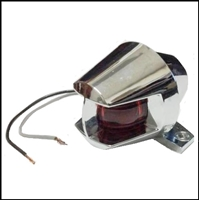 "Chrome combination bow running light with ""Space-Age"" styling for mid-century mahogany and ""FiberGlassic"" runabouts"