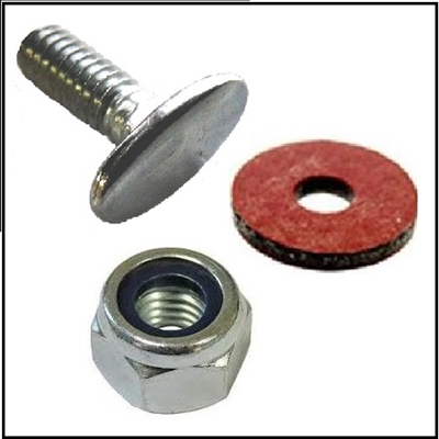 Screw, lock nut and fiber washers for retaining the decorative trim bands to the upper and lower cowling pans