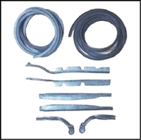 Door-jamb weatherstrip package with (4) rubber extrusions and (6) molded rubber ends for 1955-56 DeSoto, Chrysler and Imperial convertibles and 2-door hardtops
