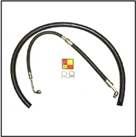 "Power steering pressure hose, return hose, OE-style hose clamps and MoPar ""Forward-Look"" pump neck decal"