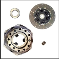 Complete clutch service package includes driven friction disc, pressure-plate and cover, throw-out bearing and crankshaft pilot bushing