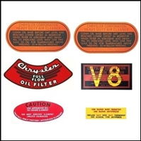 Set of (2) oil bath air cleaner decals; oil filter housing decal; crankcase breather decal; power steering reservoir decal, coolant decal