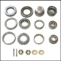 18-piece of inner and outer bearing cones and races, grease seals, thrust washers, castle nuts, cotter pins and dust caps