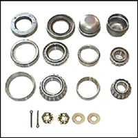 Inner and outer bearing cones; Inner/outer bearing cups; inner grease seals; spindle nuts; spindle nut lock cages; thrust washers; cotter pins; dust caps