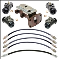 10-piece package includes master cylinder; front and rear wheel cylinders; (2) front flexible hoses and rear center hose