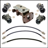8-piece package includes master cylinder; front and rear wheel cylinders; (2) front flexible hoses and rear center hose
