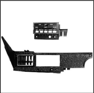 Air conditioner/heater/defroster control housing and trim panel for 1970-74 Plymouth Barracuda - 'Cuda and Dodge Challenger with Rallye dash