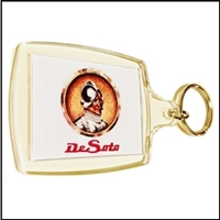 Double-sided key fob and chain with DeSoto logo
