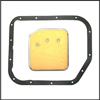 Neoprene pan gasket and dacron filter for the A-904 TorqueFlite transmission on all 1960-66 Plymouth barracuda - Valiant; all 1961-62 Dodge Lancer and all 1963-66 Dart